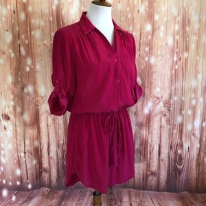 Tiffany Hot Pink Cinched Tie Waist Shirt Dress